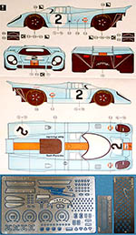 3MD 1/24 DECAL + PE DETAIL PORSCHE 917K GULF #1 #2 MONZA 71