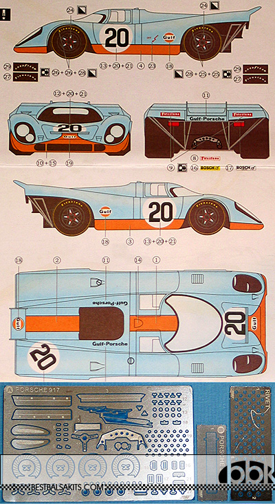 3MD 1/24 DECAL + PE DETAIL PORSCHE 917K GULF #20 #00 '70 LM