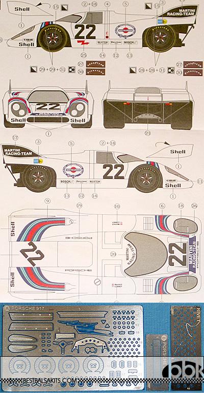 3MD 1/24 DECAL + PE DETAIL PORSCHE 917K MARTINI #22 1971 LM