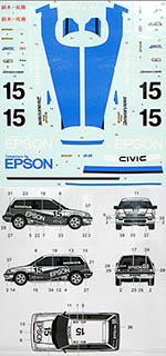 3MD 1/24 HONDA CIVIC MUGEN EPSON #15 Gr. A '87 for TAMIYA
