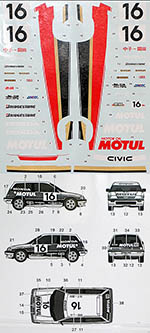 3MD 1/24 HONDA CIVIC MUGEN MOTUL #16 Gr. A '87 for TAMIYA