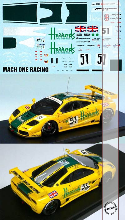 APM 1/43 HARRODS TRANSDECAL for McLAREN F1 GTR AUTOBARN