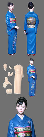 ATELIER IT 1/24 TRADITIONAL KIMONO PIT GRID GIRL FIGURINE