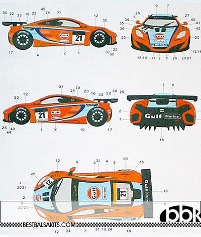 AUTOCOLOUR 1/24 GULF DECAL MP4-12C GT3 '11 MACAU GPDANNY WATTS