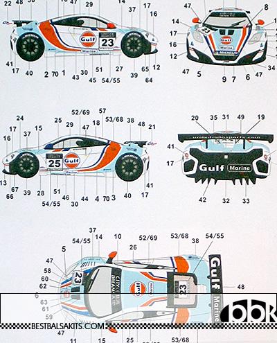 AUTOCOLOUR 1/24 GULF DECAL MP4-12C GT3 2012 MACAU GP #23 #25 MEINS