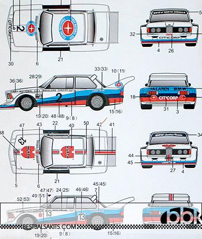 AUTOCOLOUR 1/24 DECAL BMW 320i WURTH #13 TRAVELERS CHECKS #2
