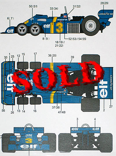 AUTOCOLOUR 1/20 TYRRELL P34 SIX WHEELER #3 #4 for TAMIYA