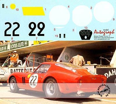 AUTOGRAPH 1/12 FERRARI 250GTO LE MANS 1962 No. 22 #3757GT