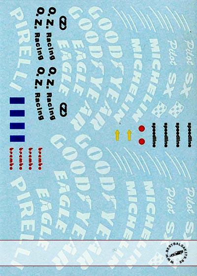 AUTOGRAPH 1/8 1/8 TIRE DECALS GOODYEAR MICHELIN PIRELLI