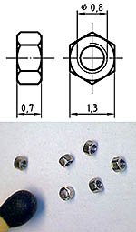 AUTOGRAPH NA THREADED NUT M0.8, 1.3mm HEAD 100pcs