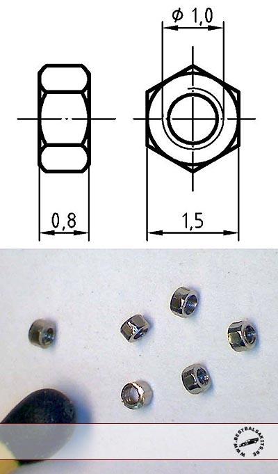 AUTOGRAPH na THREADED NUT M1.0, 1.5mm HEAD 100pcs