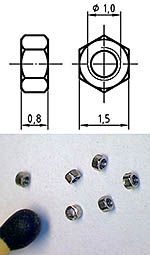 AUTOGRAPH na THREADED NUT M1.0, 1.5mm HEAD 100pcs