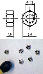 AUTOGRAPH na THREADED NUT M1.2, 2.0mm HEAD 100pcs