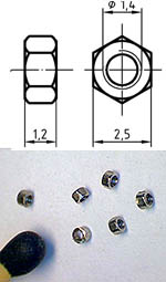 AUTOGRAPH na THREADED NUT M1.4, 2.5mm HEAD 100pcs