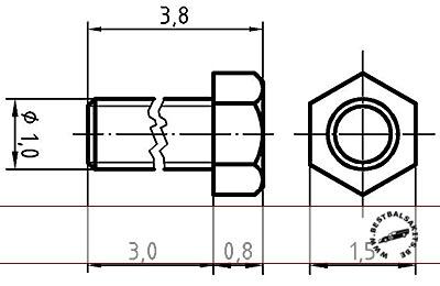 AUTOGRAPH na THREADED HEX BOLT M1.0, 1.5mm HEAD 100pcs