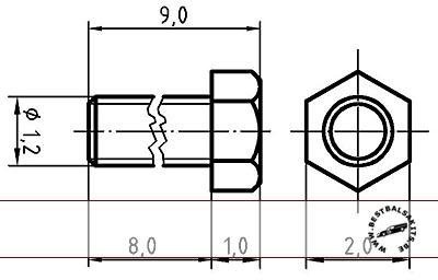 AUTOGRAPH na THREADED HEX BOLT M1.2, 2.0mm HEAD 100pcs