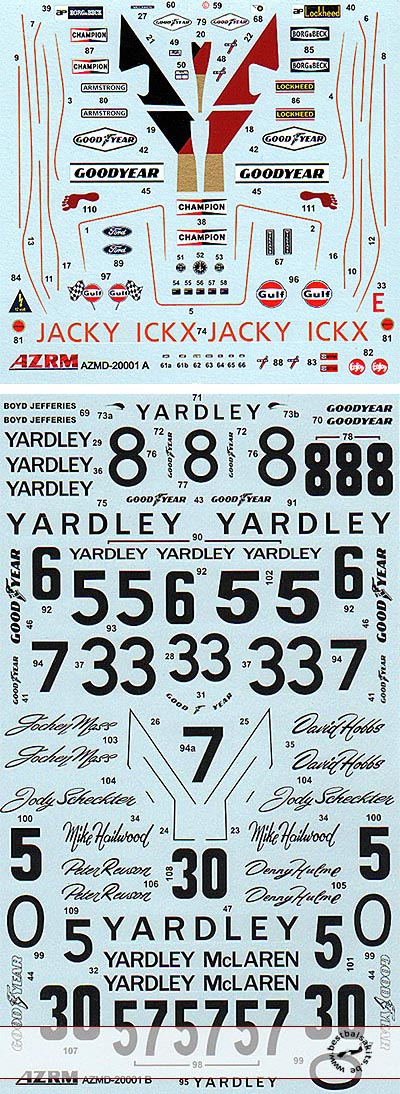 AZRM 1/20 1/20 '73-'74 YARDLEY M23 ICKX HAILWOOD HOBBS DECAL