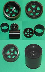 AZRM 1/12 1/12 MP4/6 METAL BLACK ANODIZED WHEEL SET f TAMIYA