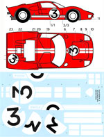 BBK 1/12 1/12 DECAL NR. 3 FORD GT40 LE MANS '66 TRUMPETER