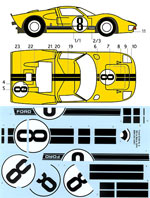 BBK 1/12 1/12 DECAL NR. 8 FORD GT40 LE MANS '66 TRUMPETER