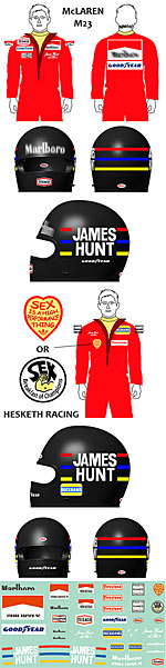 BBK 1/43 JAMES HUNT HELMET & DRIVER McLAREN M23 HESKETH