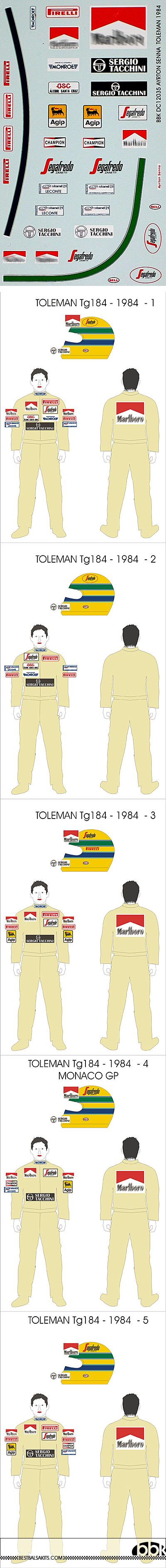 BBK 1/12 SENNA DECAL TOLEMAN 1984
