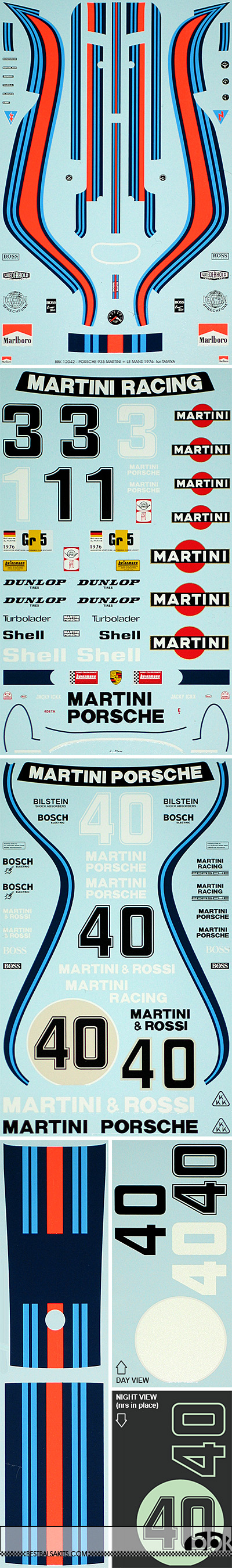 BBK 1/12 PORSCHE 935 MARTINI + LE MANS 1976 for TAMIYA