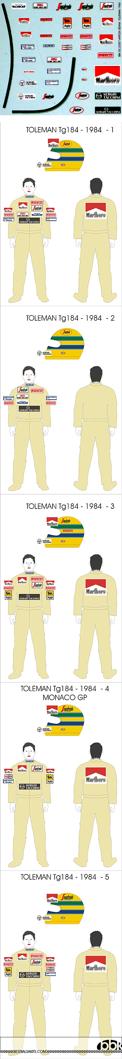 BBK 1/20 SENNA DECAL TOLEMAN 1984