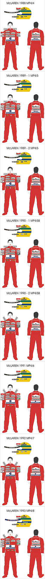 BBK 1/43 SENNA DECAL McLAREN MP4/4 MP4/5 MP4/6 MP4/7 MP4/8