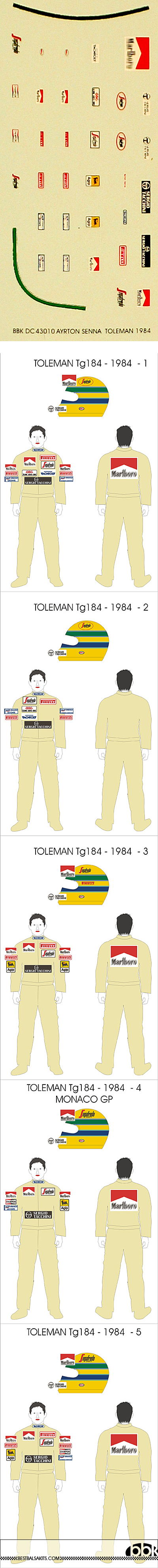 BBK 1/43 SENNA DECAL TOLEMAN 1984