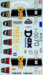 BBK 1/6 HONDA DAX REPLACEMENT & TRANS DECAL for TAMIYA