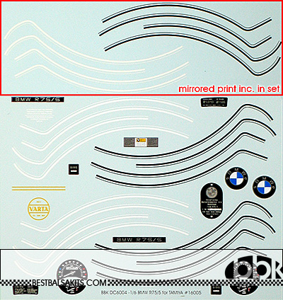 BBK 1/6 BMW R75/5 REPLACEMENT DECAL for TAMIYA