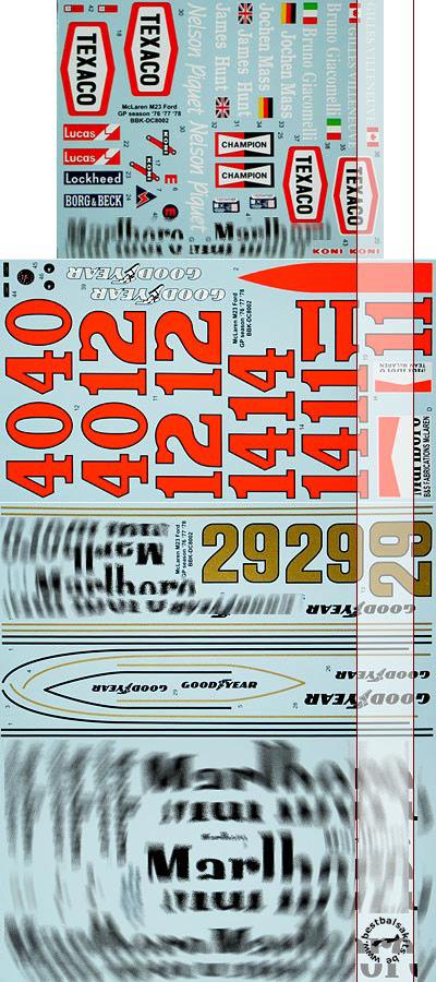 BBK 1/8 FULL SPONSOR McLAREN M23 TEXACO EIDAI GRIP ENTEX