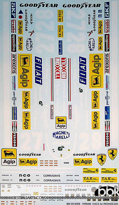 BBK 1/8 FERRARI 126C2 DECAL for PROMOCOM