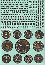 BBK 1/18 1/20 1/24 1/18 1/20 1/24 DASH GAUGES '60 - '70