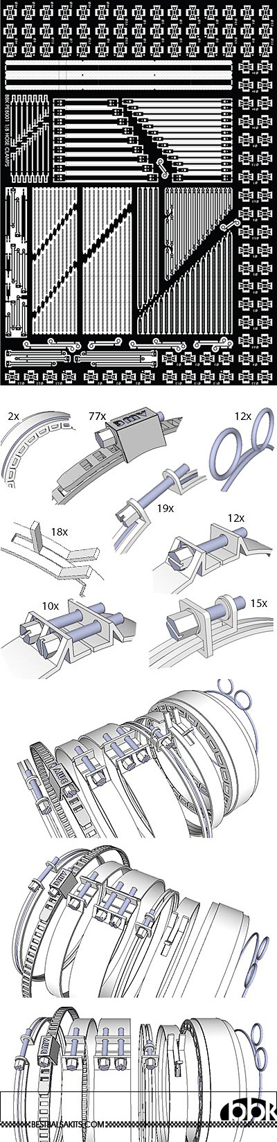 BBK 1/8 HOSE CLAMPS 1/8, 9 DIFFERENT DESIGNS, 150+ CLAMPS