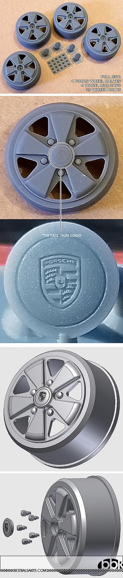 BBK 1/12 FUCHS 3D PRINTED WHEEL SET TAMIYA 1/12 PORSCHE 934