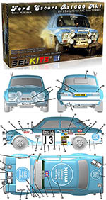 BELKITS 1/24 FORD ESCORT RS1600 MKI RAC RALLY 1973 MÄKINEN
