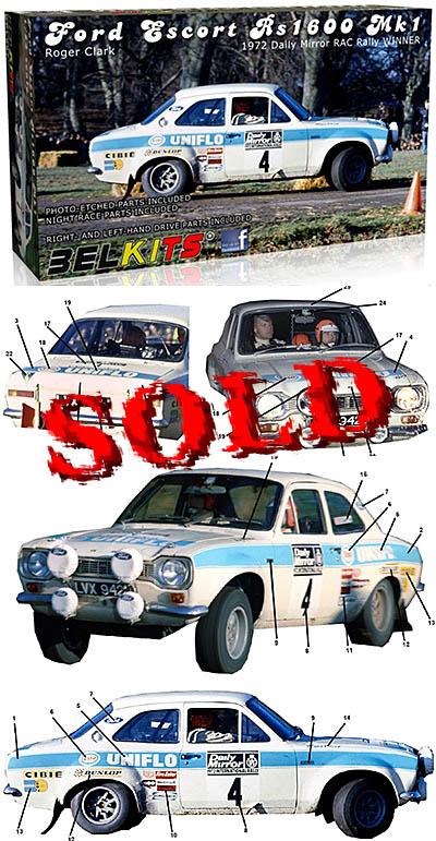 BELKITS 1/24 FORD ESCORT RS1600 MKI RAC RALLY 1972 CLARK