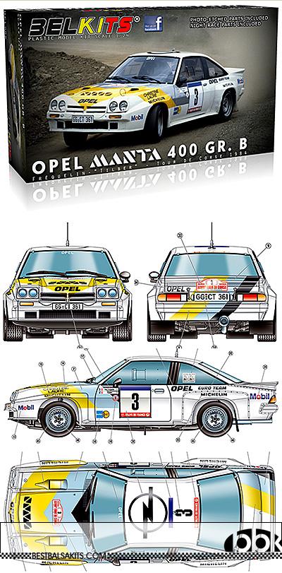 BELKITS 1/24 OPEL MANTA 400 Gr. B TOUR DE CORSE 1984 WORKS TEAM