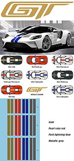 1//24 FORD GT SOLID BLUE RED ORANGE YELLOW LINE DRESS UP DECAL for TAMIYA REVELL