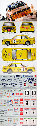 DECALCAS 1/24 BMW M3 SAUERMANN COMPETICION CAMEL SPONSORED