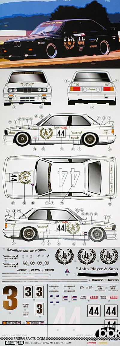 DECALCAS 1/24 BMW M3 JPS TEAM ATCC LAKESIDE & BATHURST 1987
