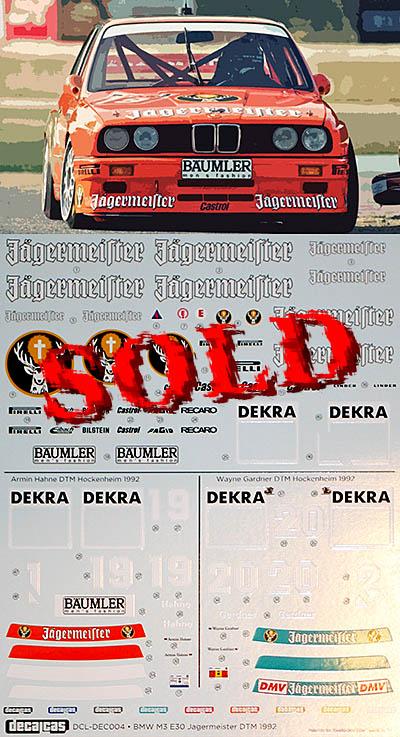 DECALCAS 1/24 BMW M3 E30 JAGERMEISTER LINDER MOTORSPORT DTM 92