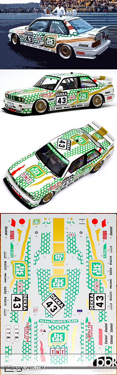 DECALCAS 1/24 BMW M3 E30 TIC TAC TAUBER TEAM DTM 91 DECAL
