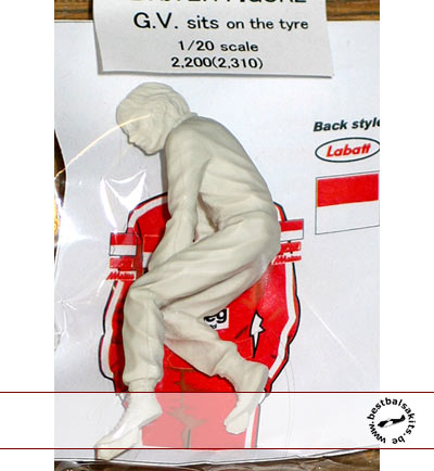 EJAN 1/20 GILLES VILLENEUVE FIGURE SITTING ON TIRE FERRARI