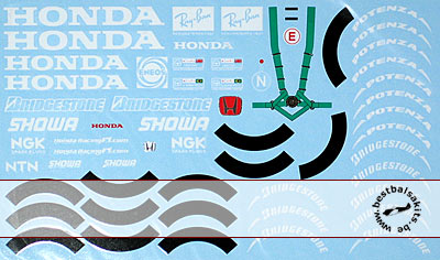 ARTEFICE 1/18 1/18 HONDA & WHEEL SPONSOR DECAL RA106 for PMA