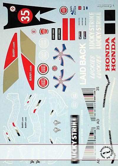 ARTEFICE 1/18 FULL DECAL BAR HONDA 006 DAVIDSON ITALY 04 for PMA