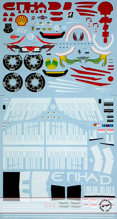 ARTEFICE 1/18 1/18 FULL SPONSOR DECAL for MATTEL FERRARI F2008