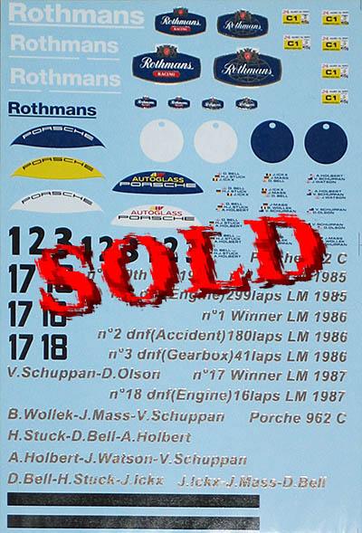 ARTEFICE 1/43 FILL IN ROTHMANS PORSCHE 962 LE MANS ICKX MASS ..